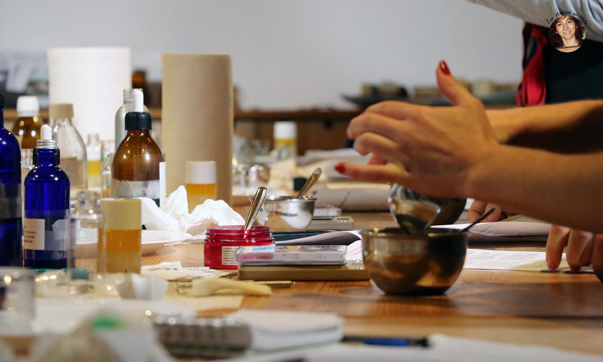 Atelier de fabrication de produits phytocosmétique - Les Ateliers en Herbe.