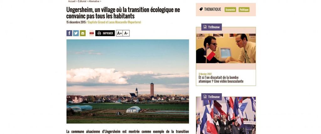 Ungersheim ou la révolution tranquille...