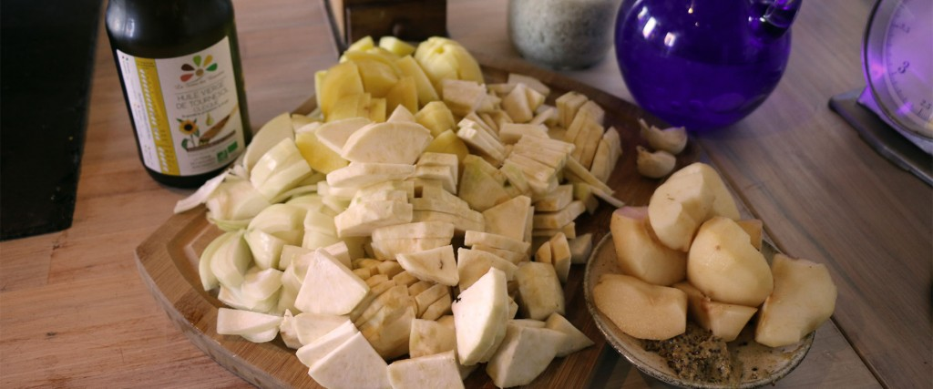 Ingrédients pour le velouté céleri boule, poire, moutarde...