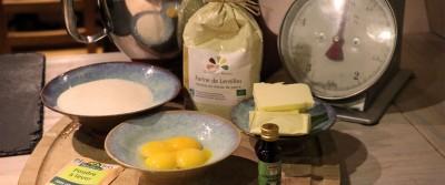 Ingrédients des sablés à la farine de lentille.